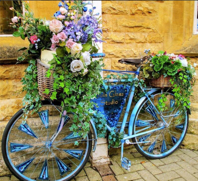 Flower-Decorated bicycle.