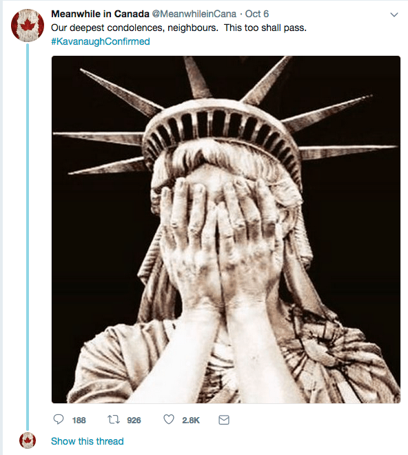 Statue of Liberty Hiding her tears.