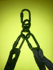 Double-point Lyra rigging: Carabiners overloaded with spanset