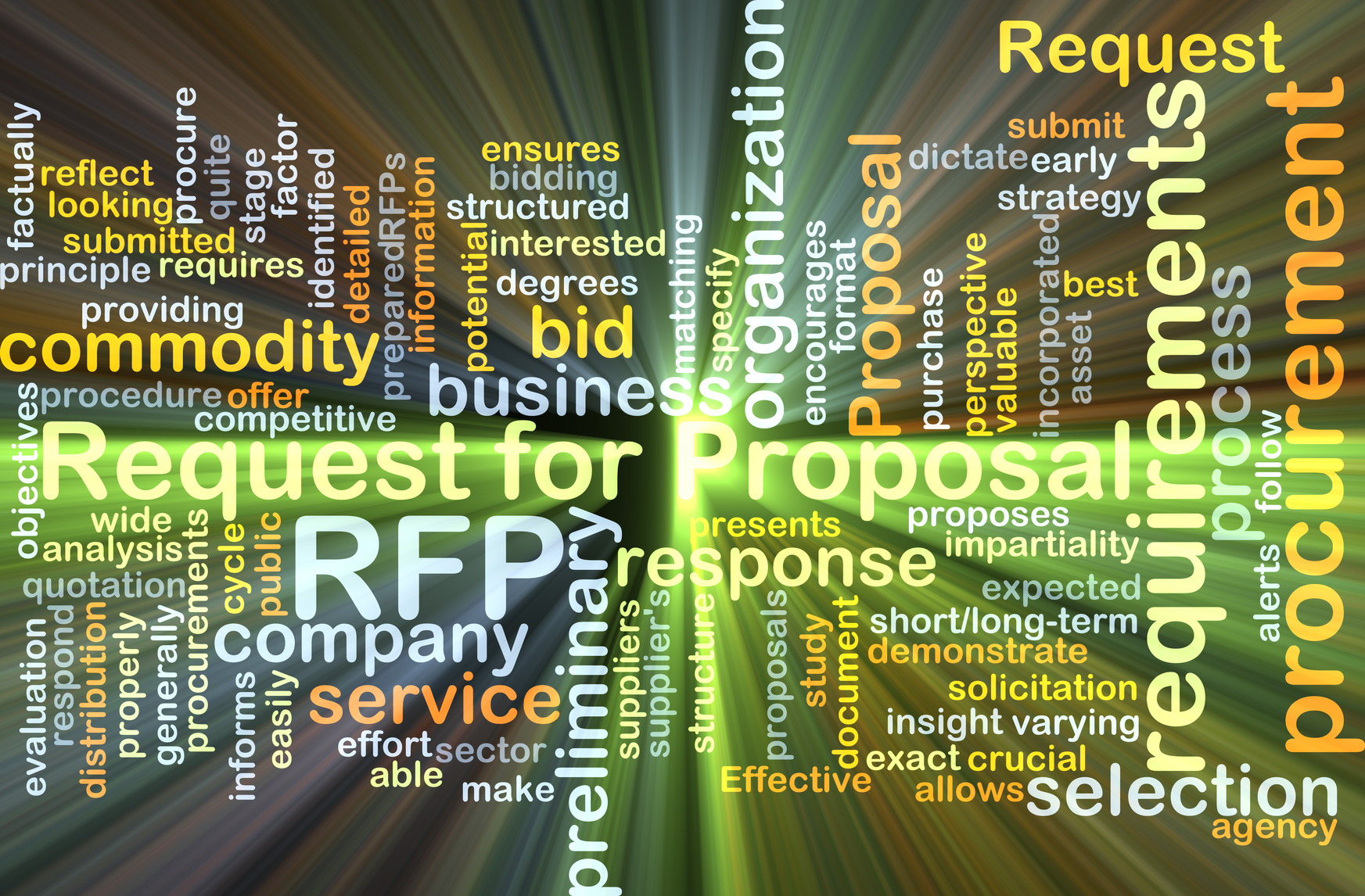 Request for proposal RFP background concept glowing   Aerial     Background concept wordcloud illustration of request for proposal RFP  glowing light