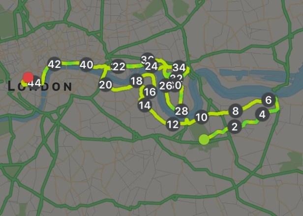 The course through London.