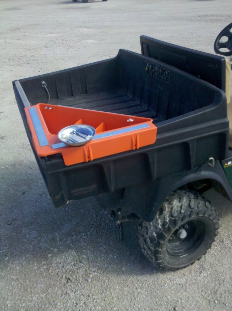 Some Maintenance workers lucky enough to have a golf cart to move from Job to Job can be organized by utilizing the Aerial Tool Bin when Not in use on Aerial Access Equipment