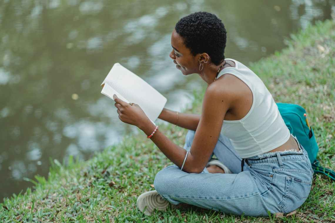 Examples of taking a break may include reading by a lake at the park.