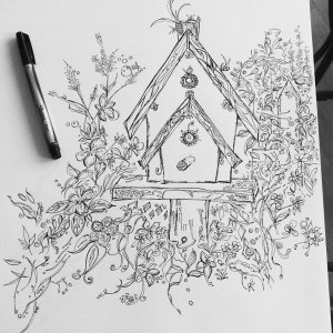Bird House Coloring
