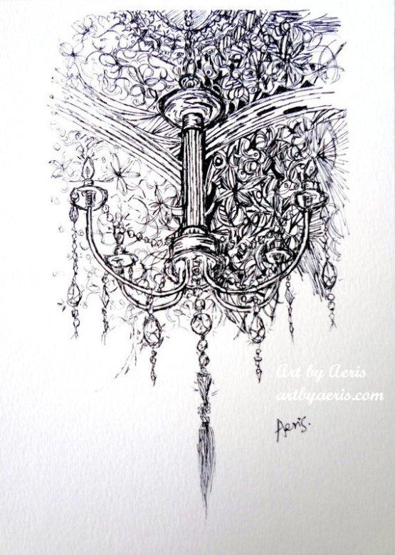 Chandelier Ink Art
