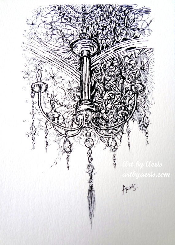 Chandelier Ink Art