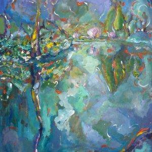 Night Pond Butchart Garden Painting