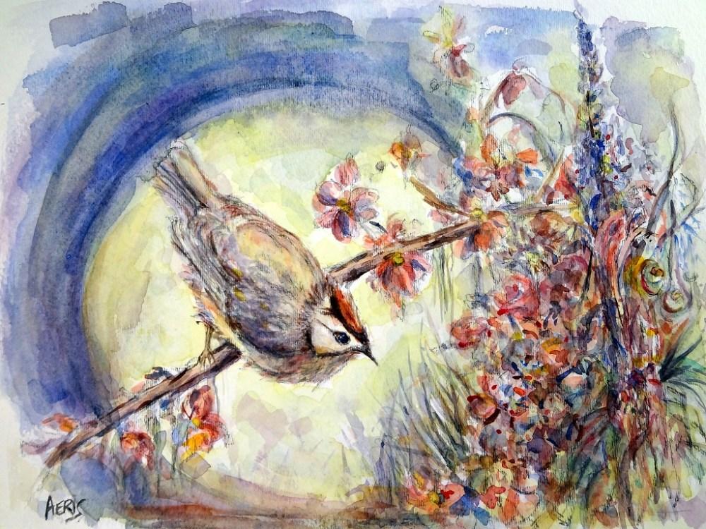 Full Moon Bird Painting