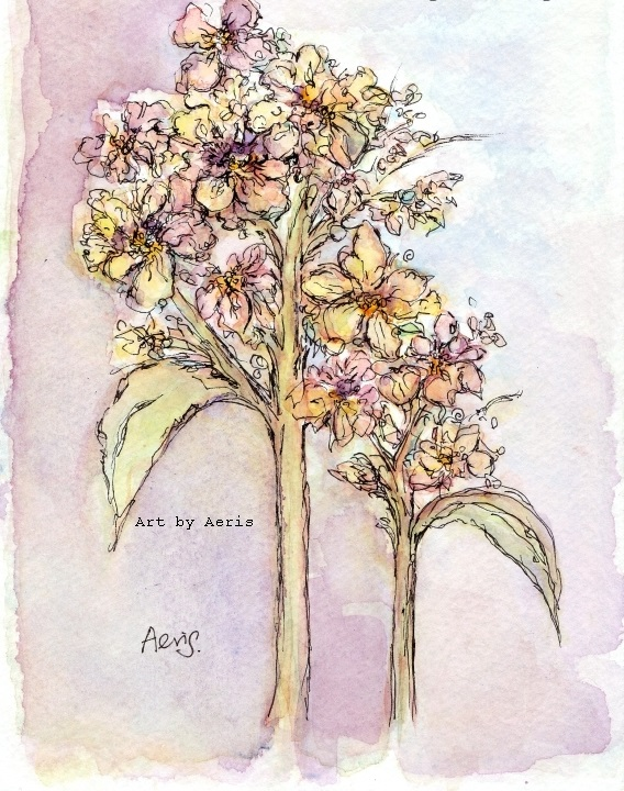 Cluster Flowers Watercolor Painting
