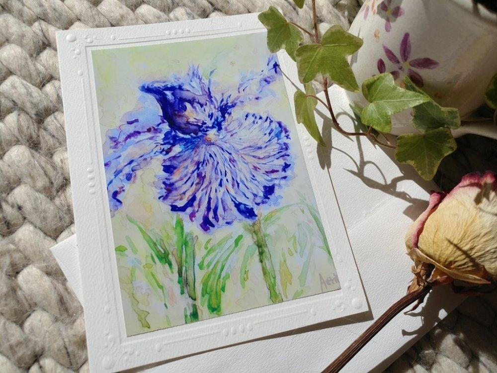 Purple Iris Flowers blank card with envelope