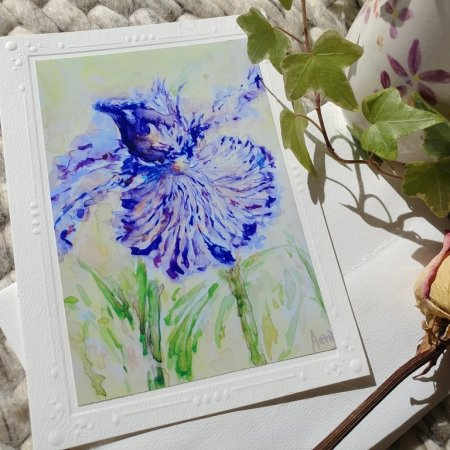 Purple Iris Flowers blank card with envelope