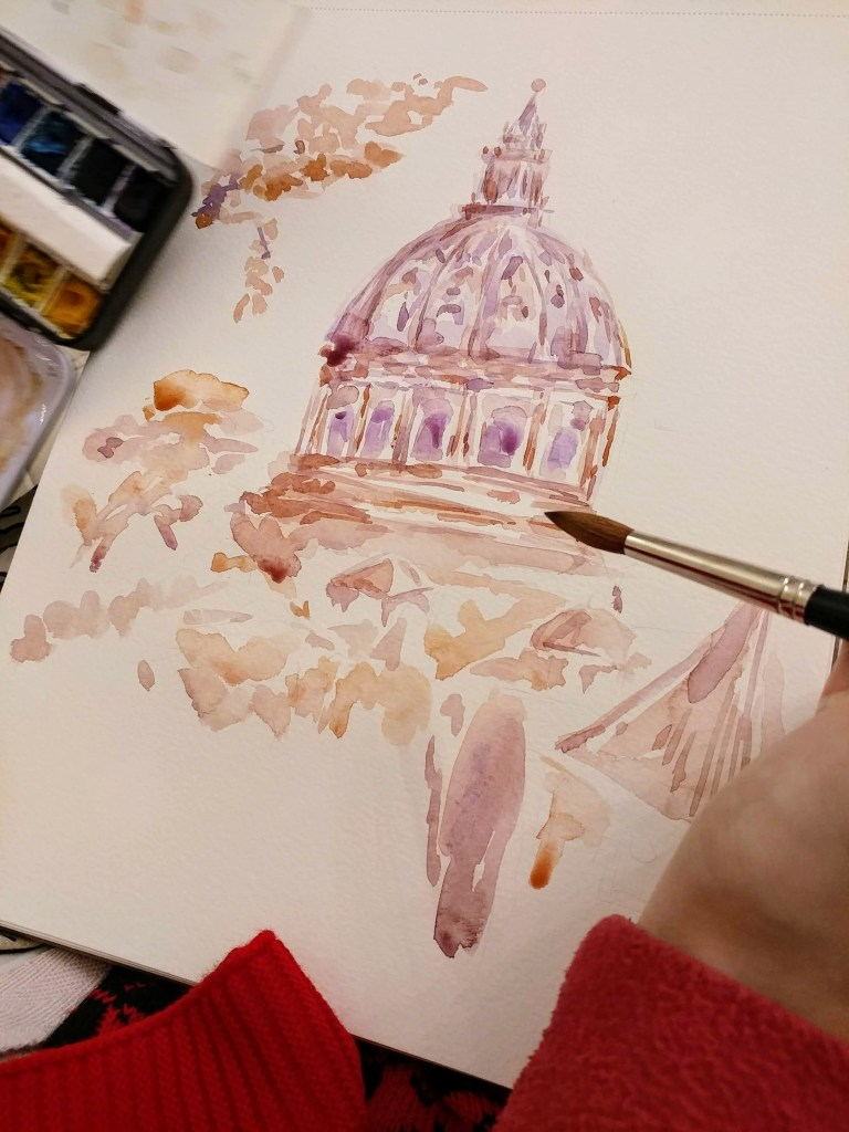 Vatican City Watercolor Painting In Process