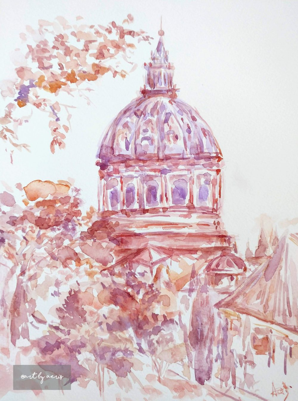 Vatican City St Peter Basilica Watercolor Painting