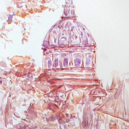 Vatican City St Peter Basilica Watercolor Painting