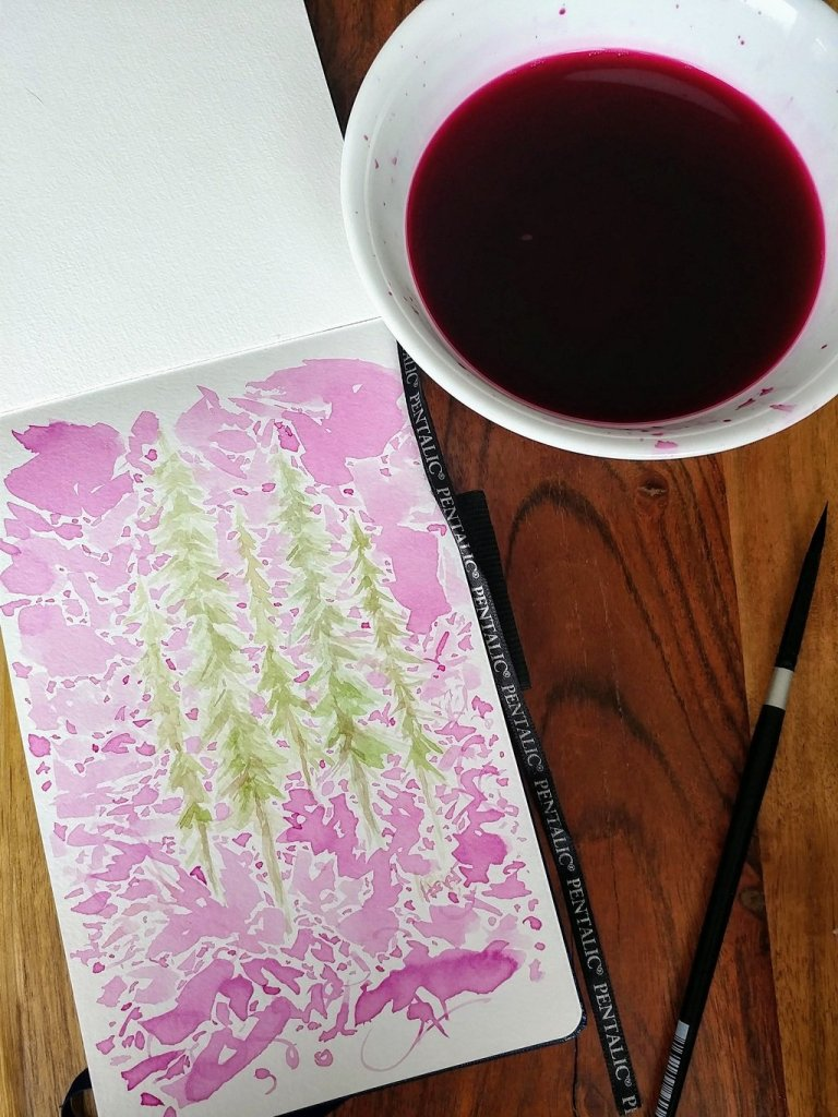 Evergreen Tree Beet Water On Watercolor Paper