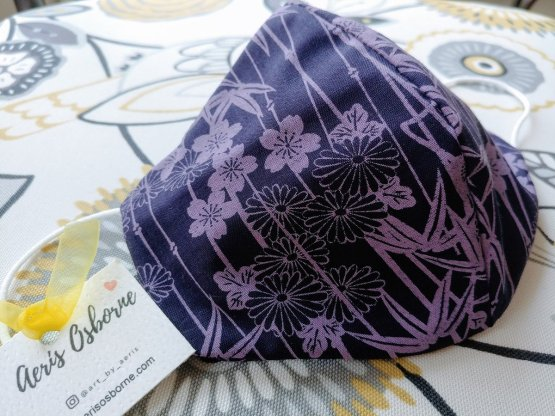 Premium 3 Layers Purple Bamboo Forest Japanese Cotton Face Masks with Filter Pocket And Nose Wire 1