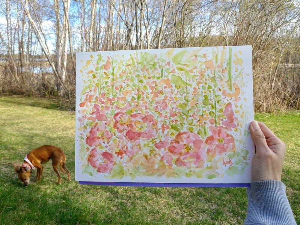 Hollyhocks Flowers Watercolor Ink Pen Sketch Painting