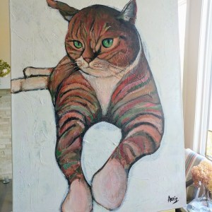 Relaxing Cat Acrylic Painting