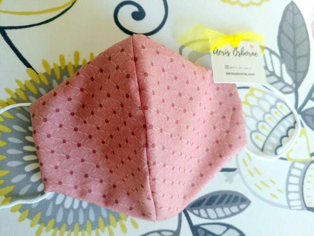 Lady Pink 3 Layers Japanese Cotton Face Mask With Filter Pocket And Nose Wire