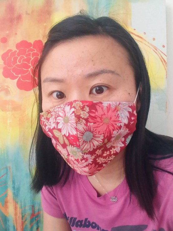 Lightweight Red Paris 3 Layers Japanese Cotton Face Mask With Filter Pocket And Nose Wire 4