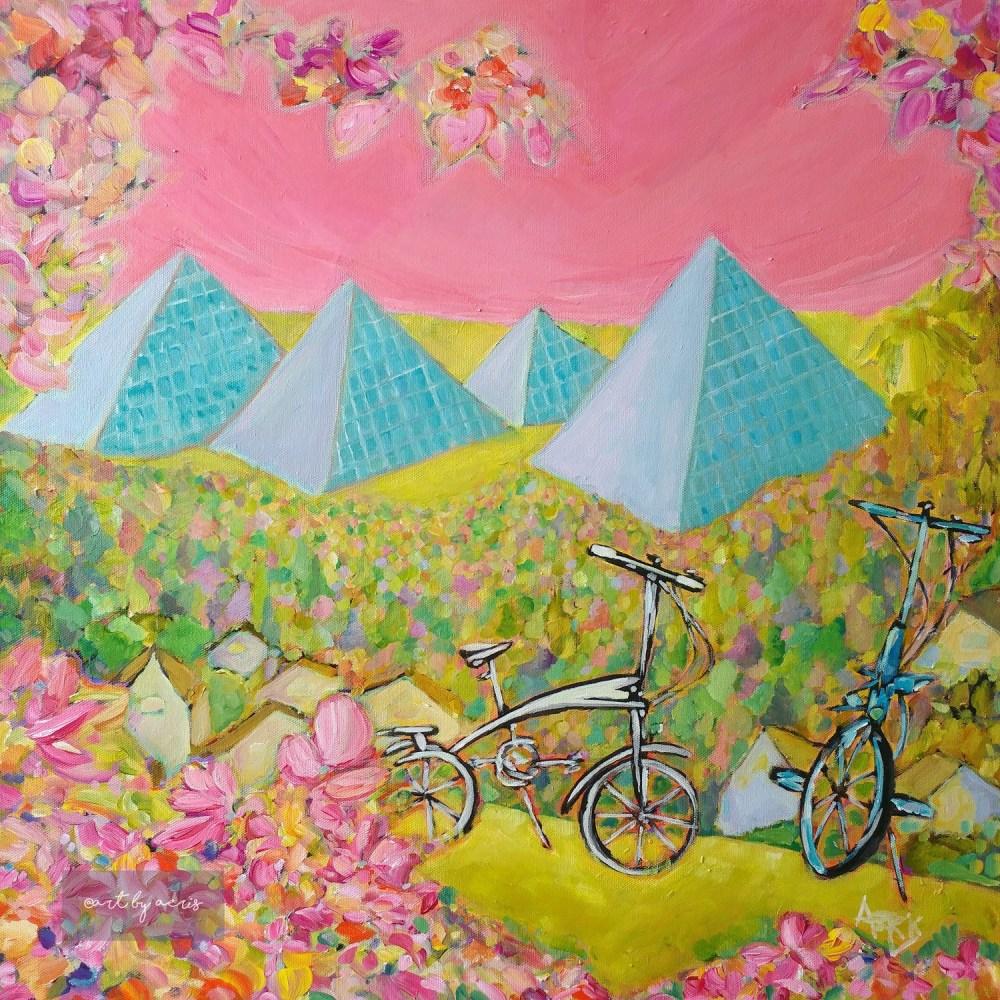 Edmonton River Valley Sunset Painting, Muttart Conversatory