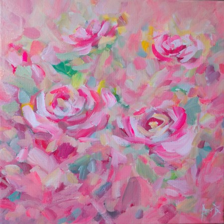 4 Pink Roses 12 X 12 Original Acrylic Painting By Aeris Osborne