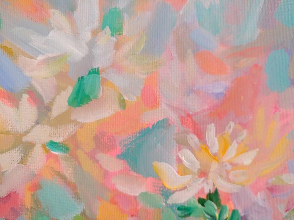 Corel Summer Abstract Floral Original Acrylic Painting By Aeris Osborne 2