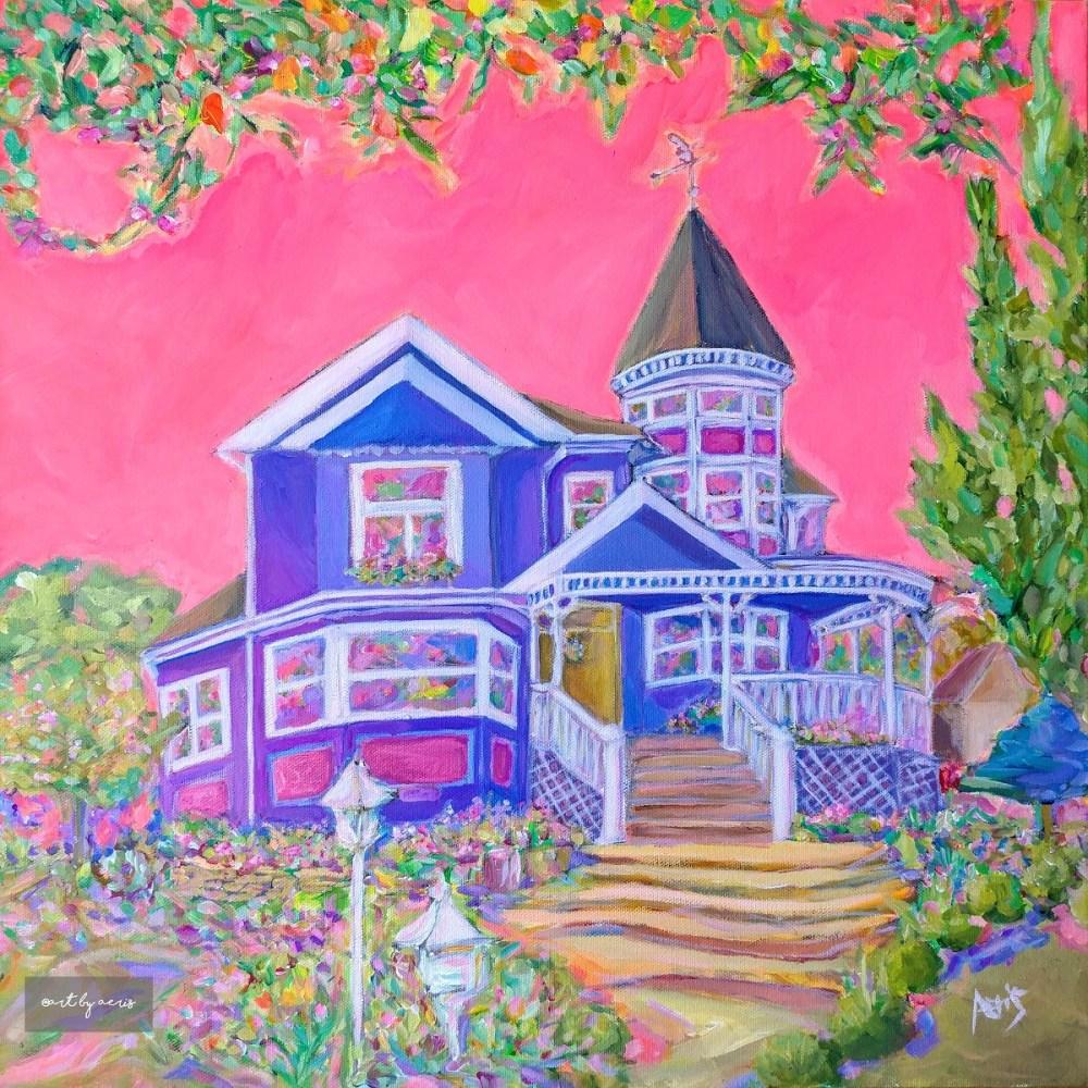 Highlands Victorian House Acrylic Painting By Aeris Osborne