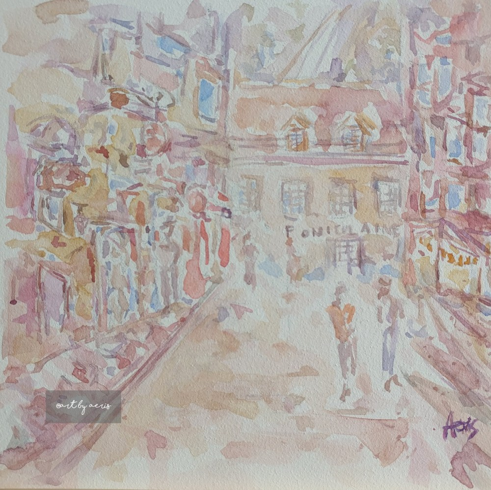 Old Quebec City Funicular Watercolor Painting 6 x 6 By Aeris Osborne