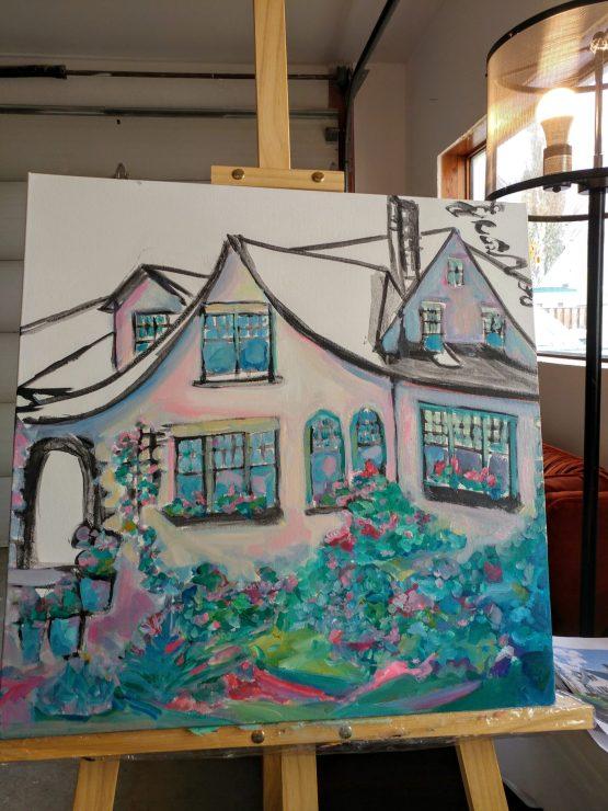 Cottage Style House Portrait By Aeris Osborne