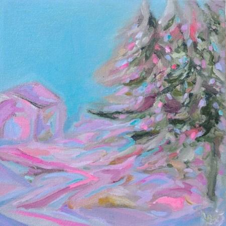 Christmas Tree 8 x 8 Acrylic Painting By Aeris Osborne