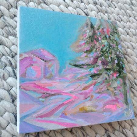 Christmas Tree 8 x 8 Acrylic Painting By Aeris Osborne