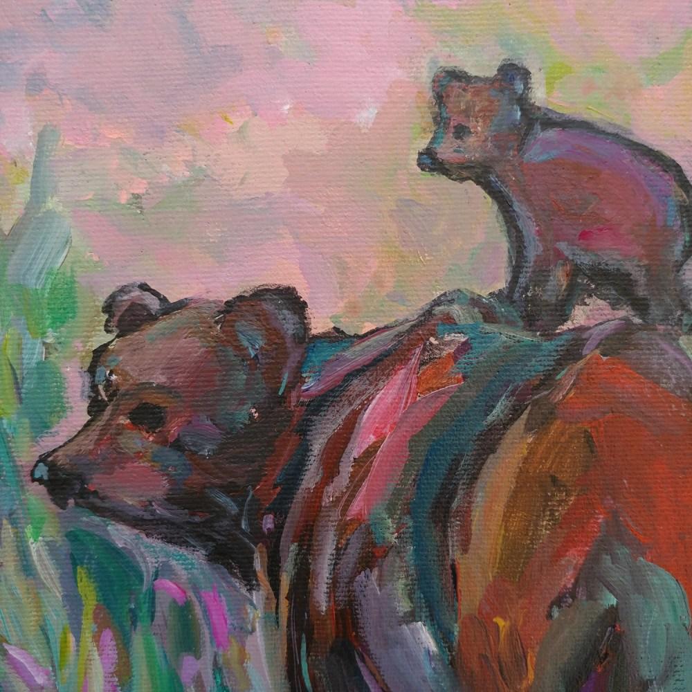 Grizzly Bear And Cub Original Acrylic Painting Aeris Osborne