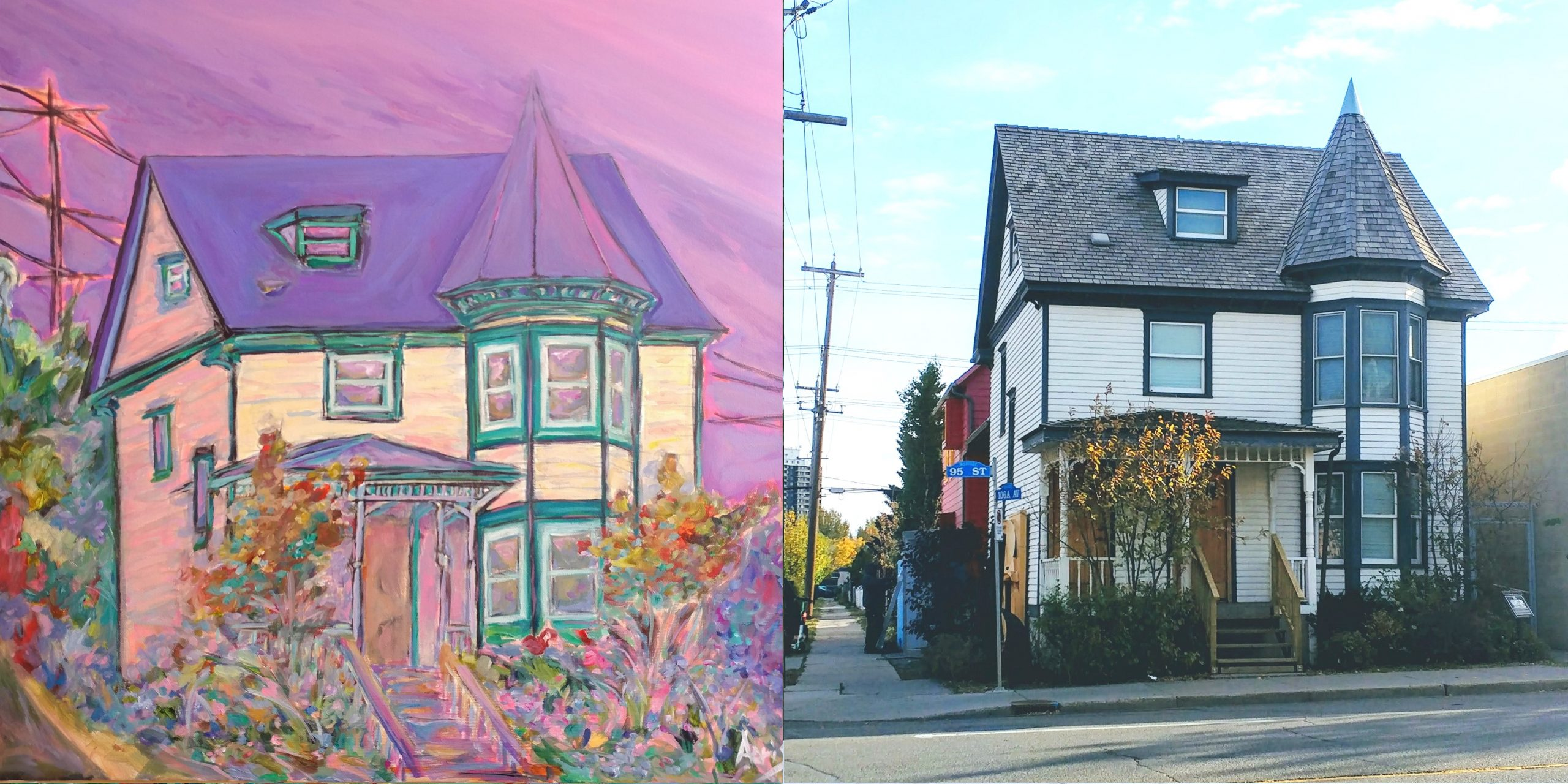 McCauley Victorian Queen Anne House Painting Side By Side