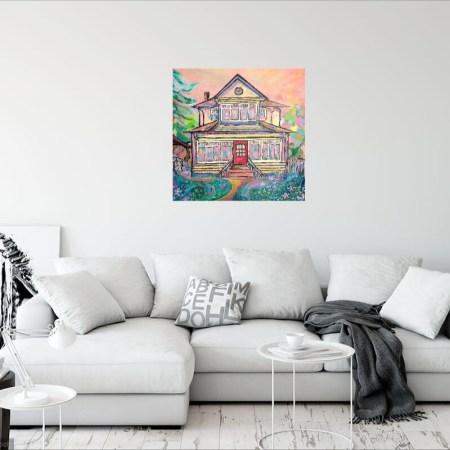 Westmount Foursquare House Painting By Aeris Osborne