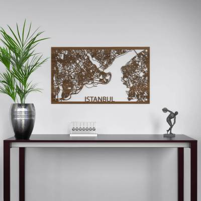 Istanbul Skyline Walnut City Map Wall