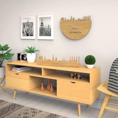 Groningen Old Skyline Oak Standing & Clock Dresser
