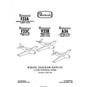 Beechcraft Bonanza F33A F33C V35B A36 Wiring Diagram Manual Rev1982