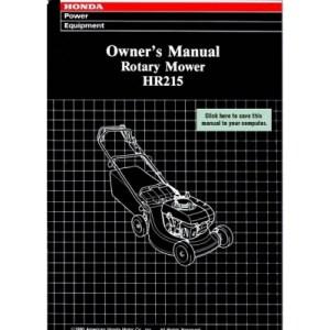 Honda HR215 Rotary Mower Owner's Manual 1990 $495