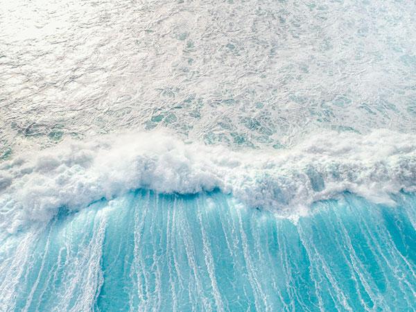 Long Reef Wave Drone Photo Light Blue