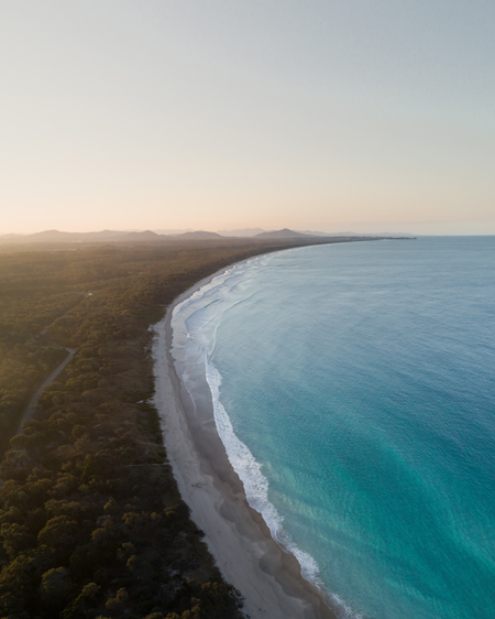 Aerial of Scotts Head at Sunset