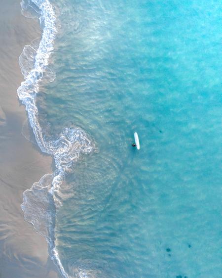 Longboarder in the Ocean