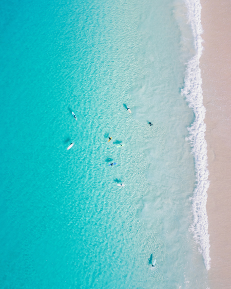 Aerial of Surfers at Seal Rocks