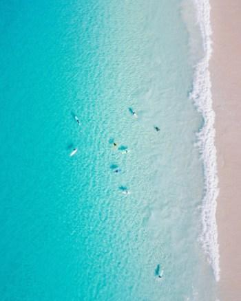 Aerial of Surfers at Seal Rocks
