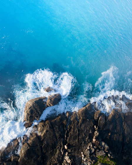 Aerial of Whale Beach Rocks
