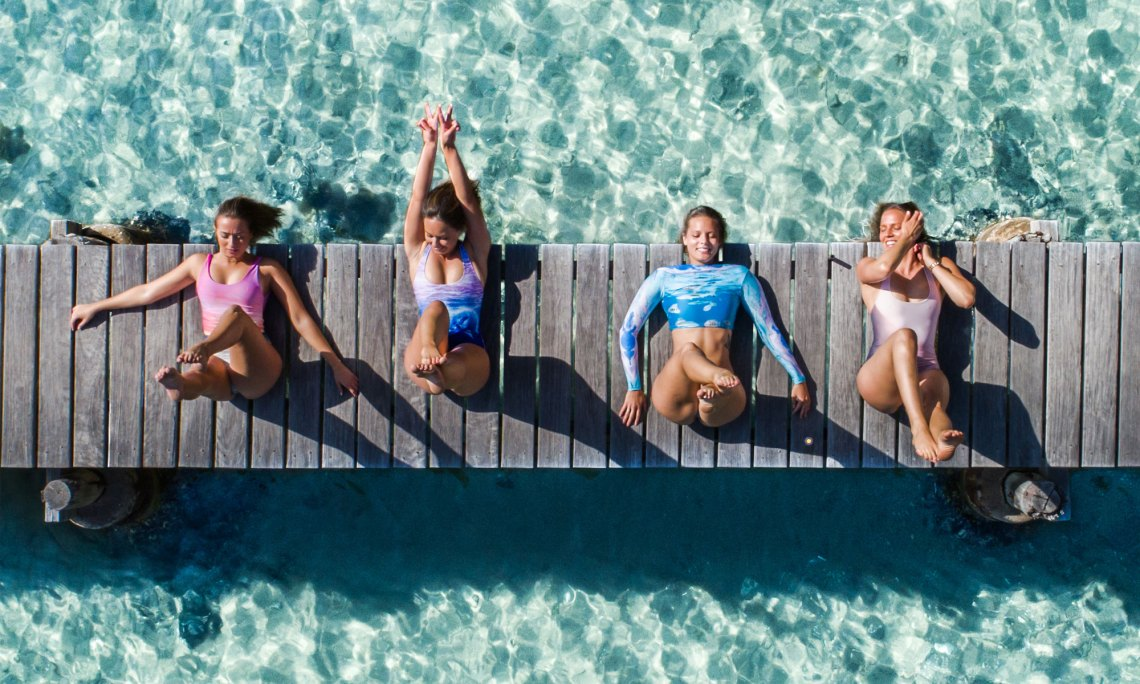 Girls Doing Yoga Aerial