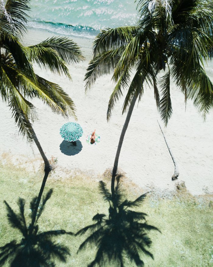Tropical Aerial Of Girl At Beach
