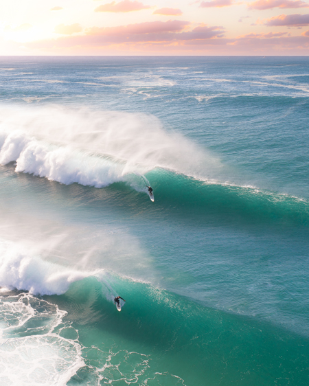 Two Surfers On Twin Waves