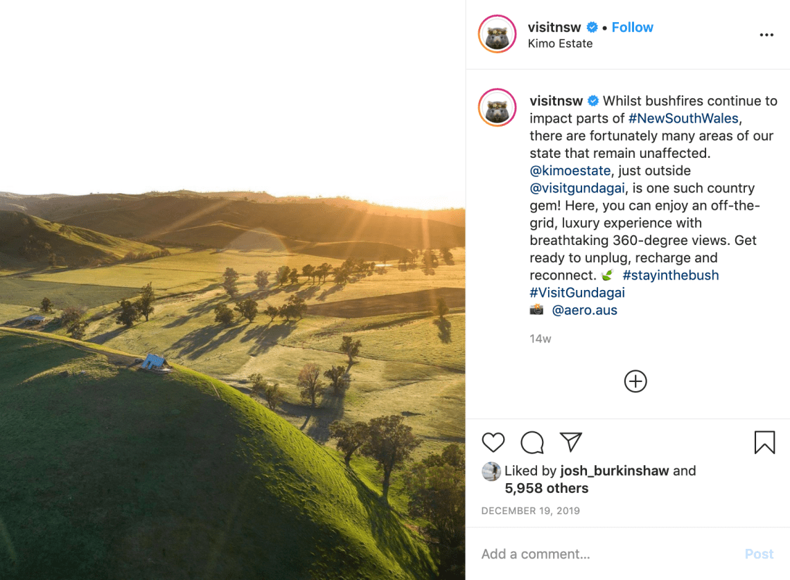 Kimo Estate Feature On Visit NSW's Instagram Account