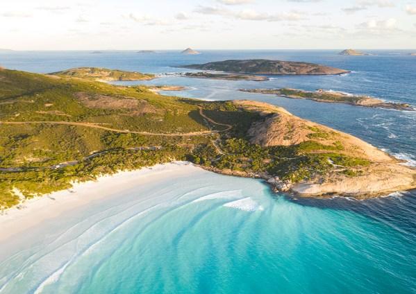 Aerial of Wharton Beach, Western Australia